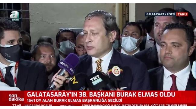 Hayırlı İşler...Galatasarayın yeni başkanı Burak Elmas: Futbolumuz Cumhurbaşkanı Erdoğanın yatırımlarına yakışır şekilde olmalı